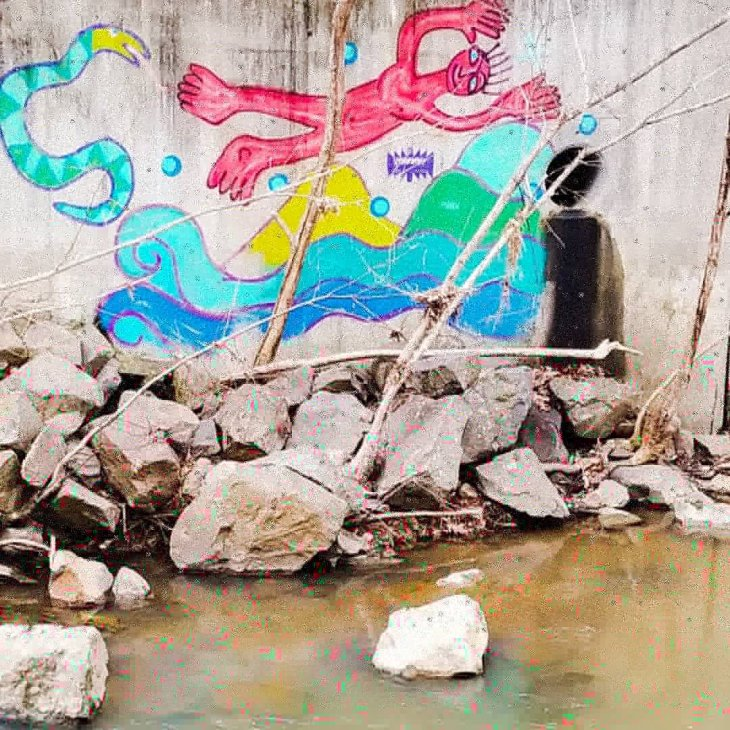 Around the corner from my house there is a creek and it's very magickal not just because of the nature but because of the art.
